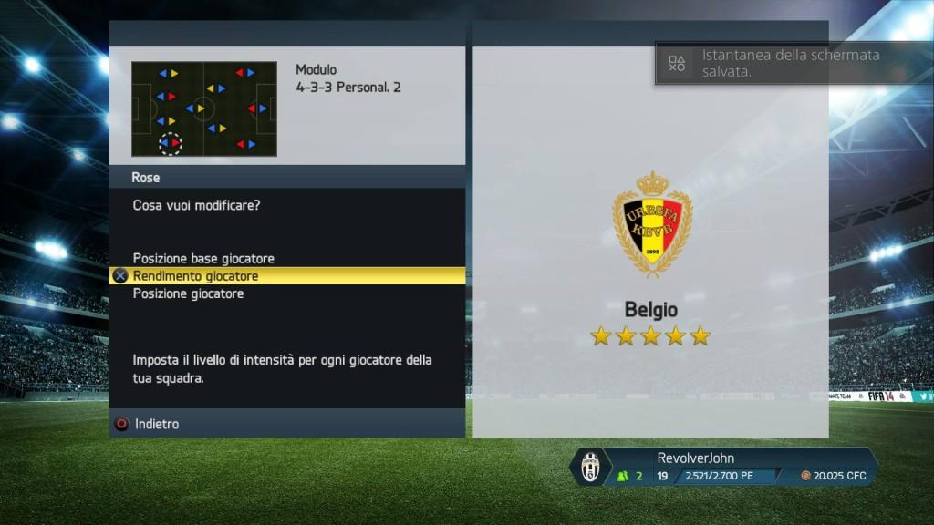 Intensità giocatori Belgio - FIFA 14