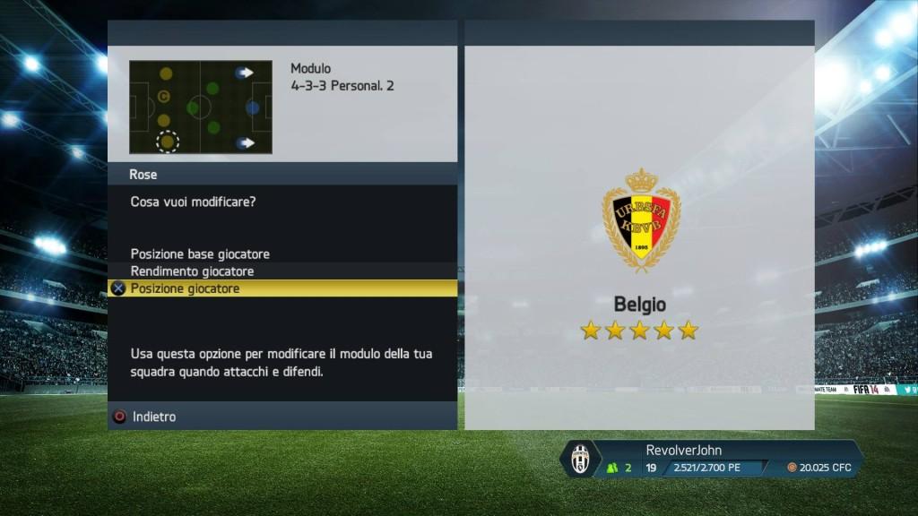 Movimenti giocatori Belgio - FIFA 14