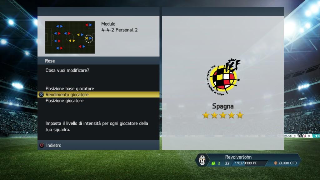 Intensità giocatori Spagna - FIFA 14
